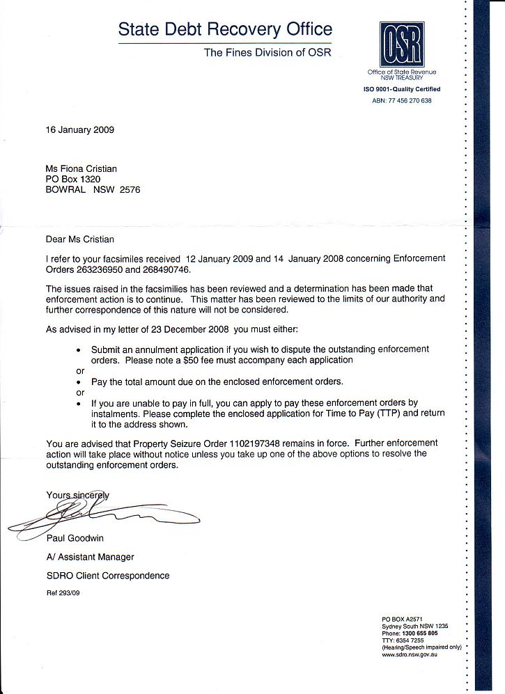 Fiona Cristian Reply To State Debt Recovery Office Part
